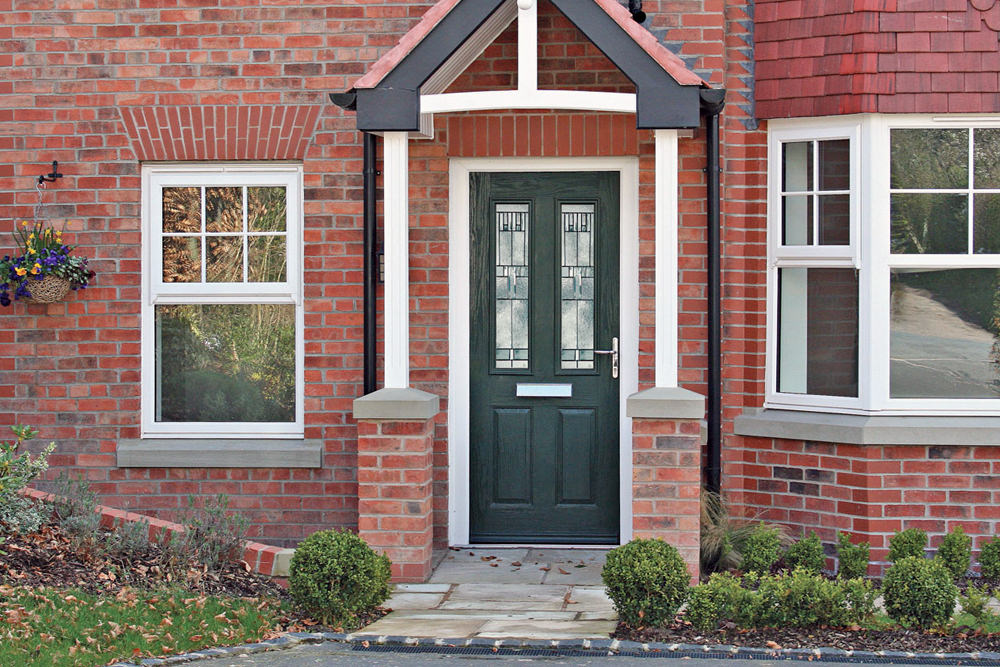 Composite front door art on glass windows for Front door quote online